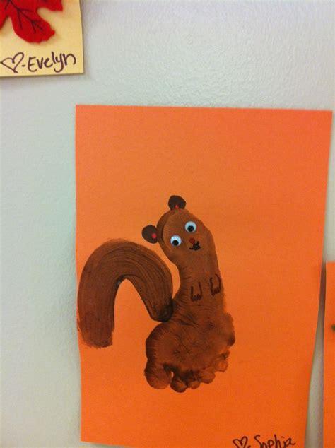squirrel crafts for squirrel footprints crafts finger footprints