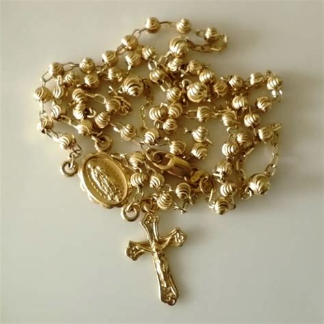 9ct gold rosary uk 9ct gold rosary cut necklace beloved treasures