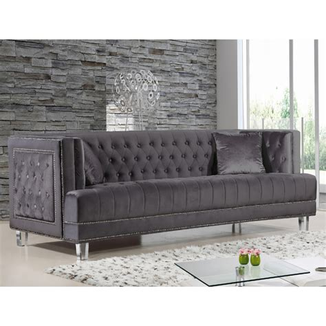 tufted sofa with nailheads gray velvet sofa with nailheads gray tufted velvet sofa