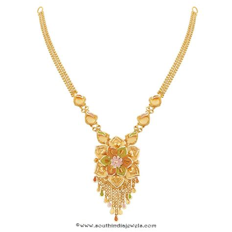 necklace designs 22k gold floral necklace design from thangamayil south