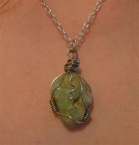 how to make jewelry with wire and stones wire wrapped chrysoprase necklace by katlynmanson on