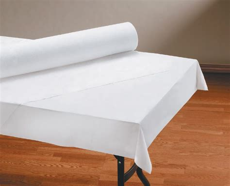 table with paper roll white linen like table cover rolls 260047 my paper shop