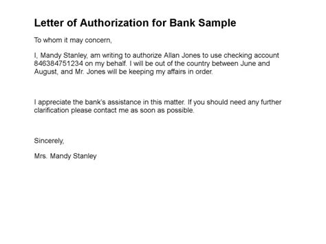 Authorization Letter Sample For Electric Bill sample of authorization letter to bank manager cover