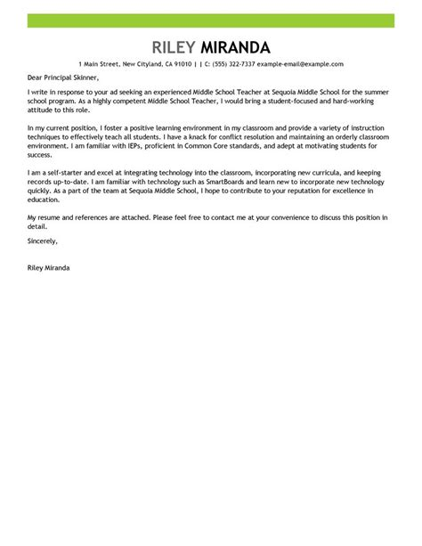 summer teacher cover letter examples education cover