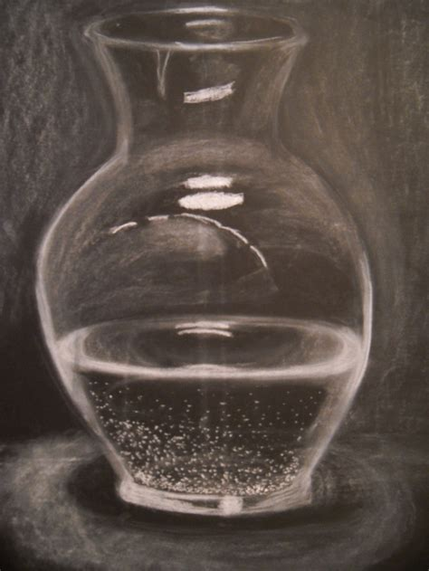 water in vases glass vase filled with water done in white chalk on black