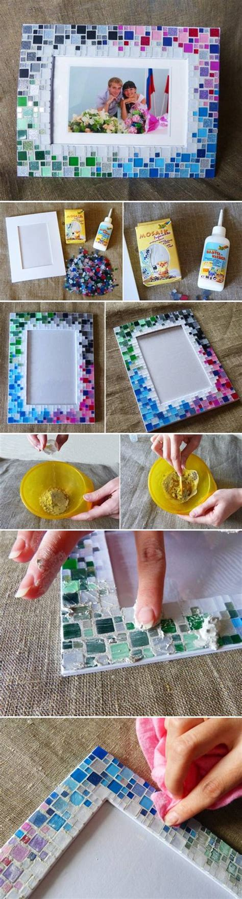 photo craft projects how to make colorful mosaic picture collage photoframe
