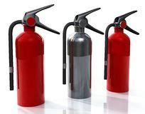 tree extinguisher three firefighter with the extinguishers stock