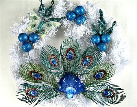 Peacock Christmas wreath Holiday decoration Winter wreath