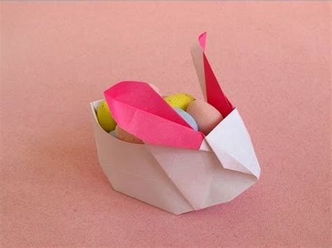 origami easter bunny basket rabbit lantern or easter bunny basket jacky chan