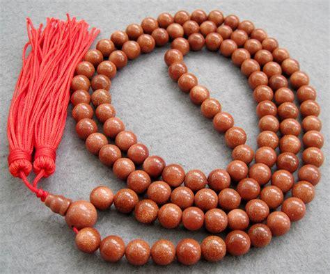 mala bead goldstone gem tibetan buddhist 108 prayer mala