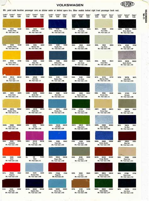 original paint colors vw thesamba beetle 1958 1967 view topic any