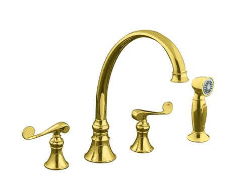 brass kitchen faucet kohler revival kitchen sink faucet in vibrant polished brass the home depot canada