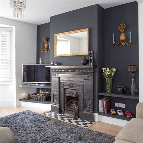 rooms painted gray traditional living room with grey painted feature wall