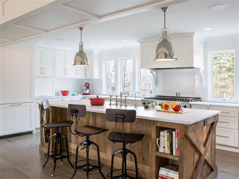 white kitchen wood island photos hgtv