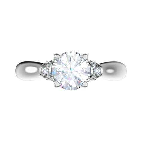bead set diamonds engagement ring with 0 17ctw bead set shoulders