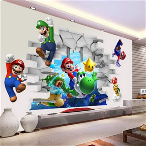 mario wall sticker vue 3d stickers muraux stickers mario