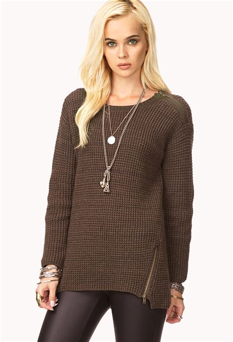 knitted sweaters forever 21 forever 21 favorite waffle knit sweater in brown lyst