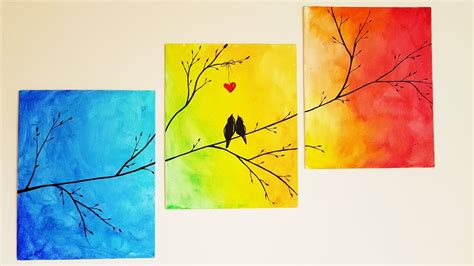 paint on canvas diy colorful tree canvas painting room decor