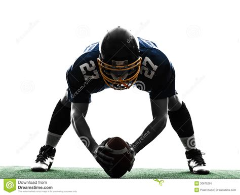 March Madness Standing by Center American Football Player Man Silhouette Stock Image
