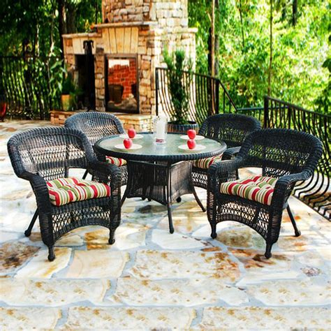 5 patio dining set shop tortuga outdoor portside 5 roast glass