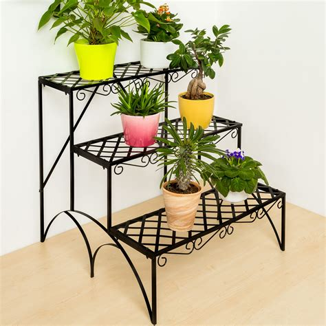 garden flower stands 3 tier metal garden plant pot display shelf stand flower