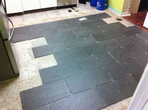 Ceramic Tile On Basement Floor by I Re Tiled My Kitchen Dadand Com Dadand Com