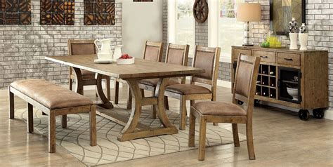 Discount Dining Room Furniture gianna rustic pine extendable rectangular dining room set