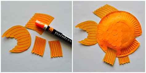paper plate fish craft 5 glue your fins to your paper plate finish your fish by