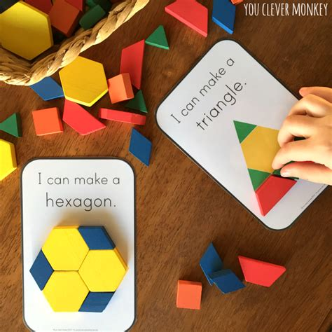 how to make shaped cards 2d shape pattern block challenge cards you clever monkey