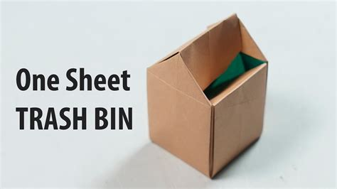 origami garbage bin easy paper trash bin one sheet of paper henry phạm