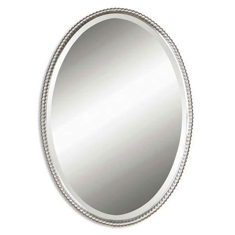 pictures of bathroom mirrors sherise brushed nickel oval mirror uttermost wall mirror