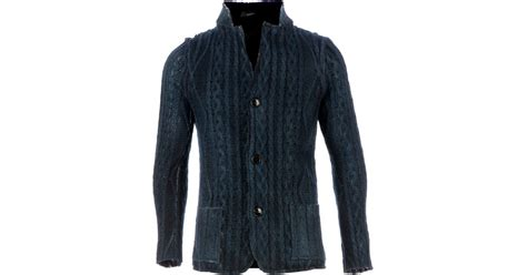 blue cable knit cardigan avant toi cable knit cardigan in blue for lyst