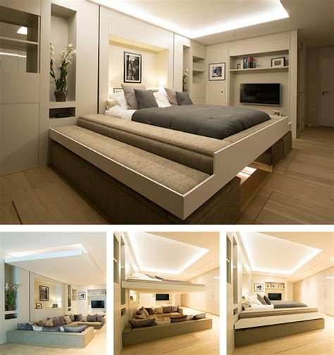 turn living room into bedroom bed descends from ceiling to turn a living room