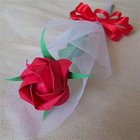 origami paper roses origami paper handmade flower with tulle wrapper