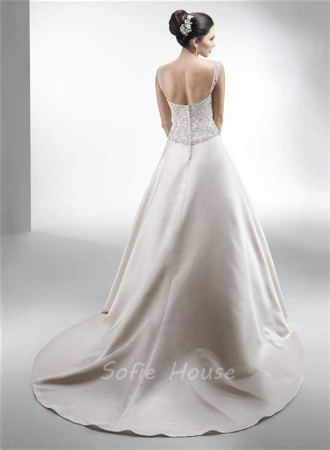 wedding dress beaded straps a line strapless satin beaded wedding dress with
