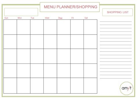 monthly and weekly menu planners free printables amft