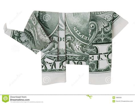 1 dollar origami one dollar origami elephant stock photo image 7885630