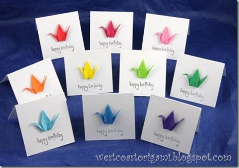 how to make origami birthday cards west coast origami projects origami mini cards