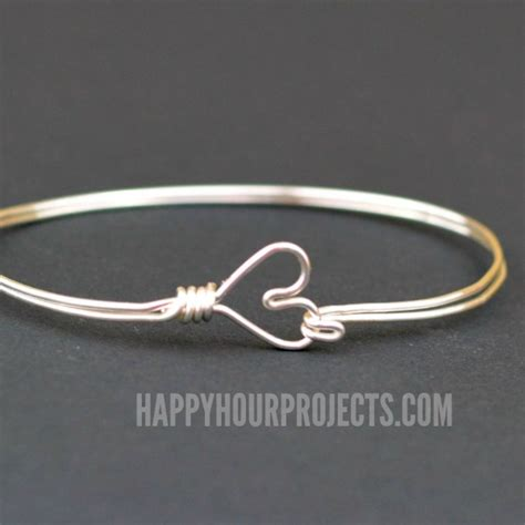 how to make jewelry with and wire diy clasp wire wrapped bangle bracelet happy hour