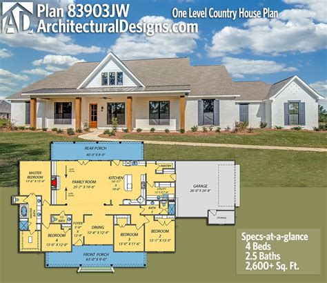 architectural house plans and designs plan 83903jw one level country house plan house plans house house plans and home