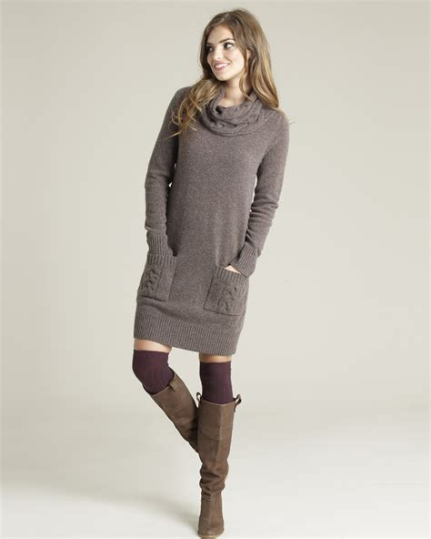 Wool Cable Knit Sweater Dress