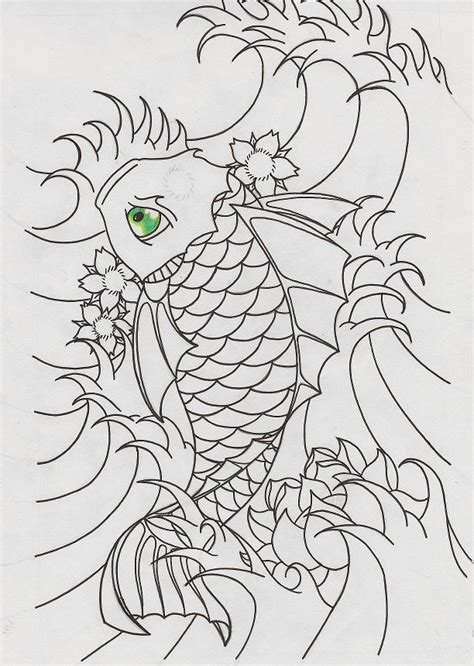 koi fish outline by herooooo on deviantart