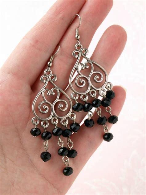 black bead earrings dangle earring chandelier earring black bead earring