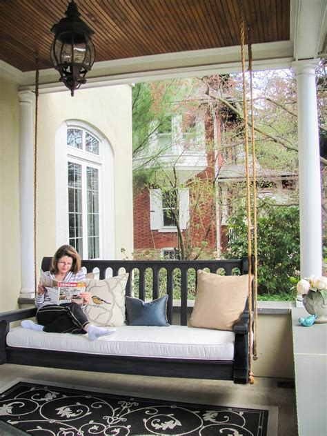 gorgeous porch swing cushions in porch traditional with