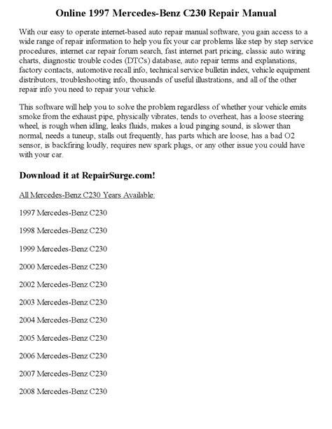 1997 mercedes benz c230 repair manual online by calvin mccray issuu