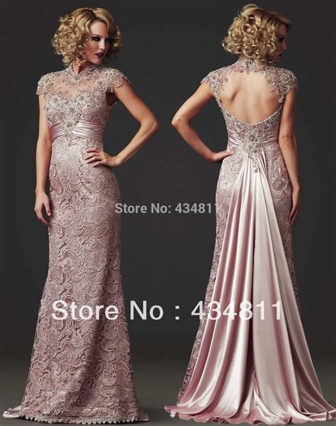 beaded evening dresses sheer high colla beaded lace 2014 light