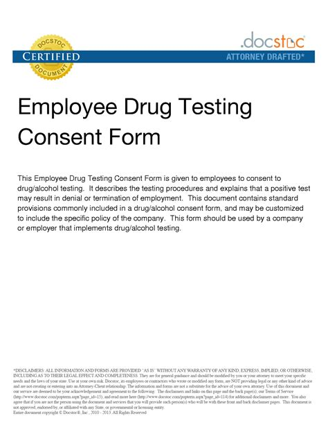 drug test consent form free printable documents
