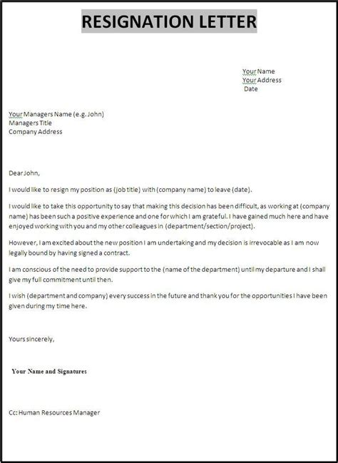 resignation letter resignation letter for assistant
