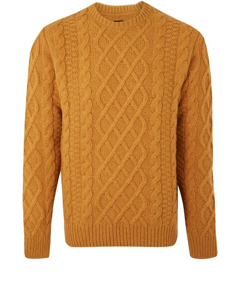cable knit jumper barbour cable knit jumper in orange for mustard lyst