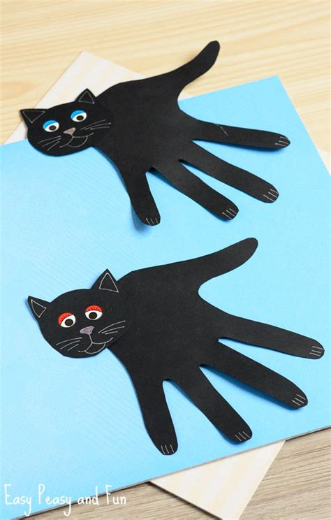 cat craft for handprint black cat craft easy peasy and